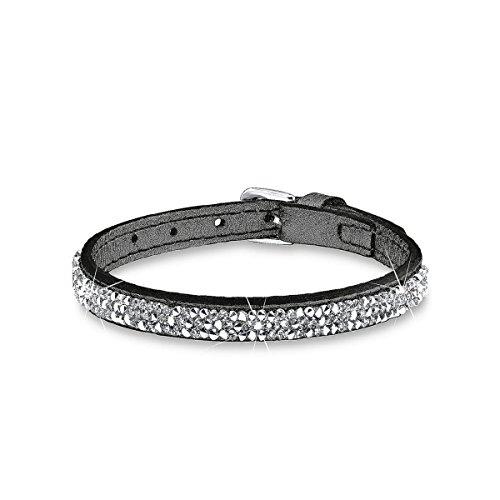 s.Oliver Damen-Armband Let's Celebrate Swarovski Rocks Edelstahl Leder Kristall silber 21 cm - 515924