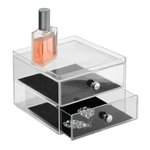 InterDesign 37880EU Clarity Schmuckkasten mit 2 Schubladen, durchsichtig