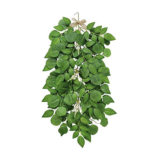 æ— Artificial Eucalyptus Plant Vines,Fake Vines Hanging Ivy Decor Plastic Leaves Greeny Chain Garden Garland for Wedding Party Home Garden Wall Decoration