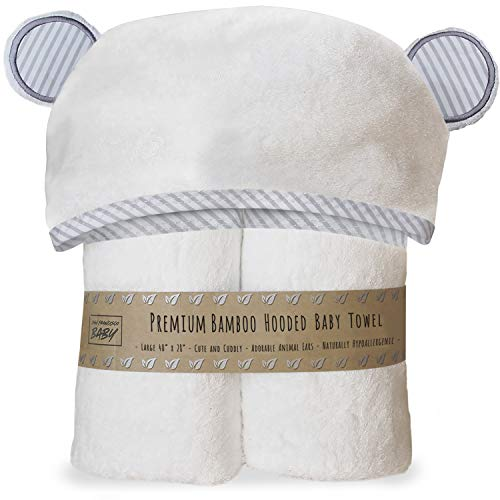 Premium Hooded Baby Towel and Washcloth Set - Organic Soft Hooded Bath Towels with Ears for Babies, Toddlers | Large...