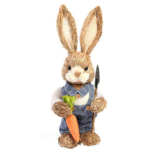 Easter Simulation Bunny Decorations, Standing Straw Rabbit with Carrot Basket, Easter Decor Gifts with for Home Decor