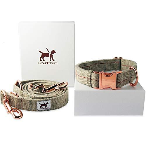 Liebes-Flausch Hundeleine + Hundehalsband im Set | Elegant - Verstellbar - Trendy (40-66cm)