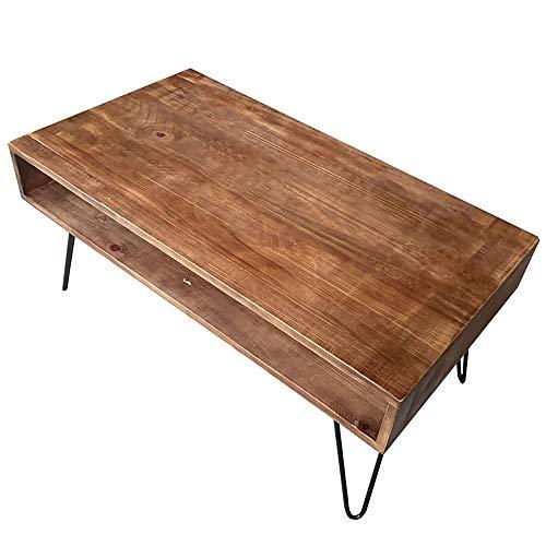 WENCY kleine salontafel dennenhout smeedijzeren vierkant met holle laden voor woonkamer slaapkamer