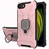 iPhone SE 2020 / iPhone 8/ iPhone 7/ iPhone 6 Rubber Phone Case, Yiakeng Military Grade Protection Shockproof Cover Case with Ring Bracket for iPhone SE 2020/8/ 7/6 (Rose Gold)