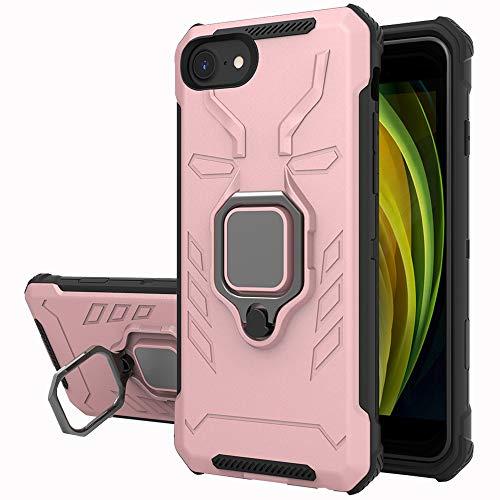 Yiakeng Funda iPhone SE 2020 / iPhone 8 / iPhone 7 / iPhone 6, 360 Grados Proteccion Hard PC Silicona TPU Carcasa Antigolpes Case para iPhone SE 2020/8/7/6 (Oro Rosa)