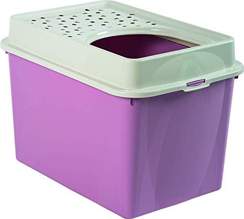 Rotho Berty, caja de arena alta con entrada superior, Plástico PP sin BPA, malve, 57.2 x 39.3 x 40.4 cm