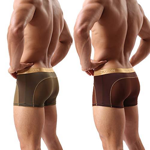 Laxier 2er-Pack Herren Boxer Shorts Weiche Unterhosen Durchsichtige Boxershorts Sexy Unterwäsche Trunk für Männer (Kaffee/Armeegrün, XL)