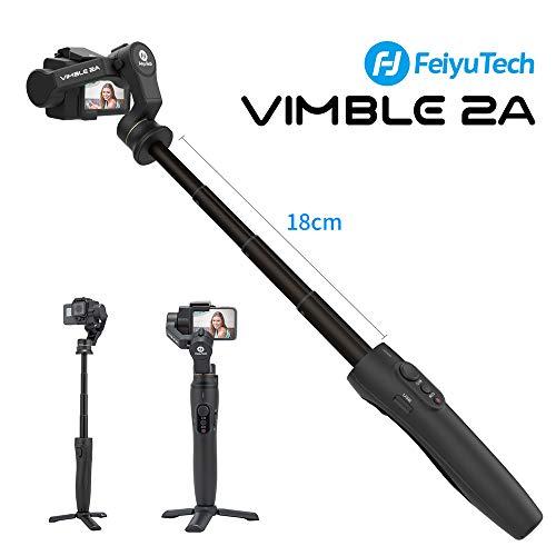 Feiyu Vimble 2A Gimbal Estabilizador con 18CM Poste Extensible,Acción Cámara 3-Ejes Gimbal para Gopro Hero 5/6/7, YI 4K, SJ 6 Legend, Ricca,WiFi Control, Modo Horizontal/Vertical, Video Estable