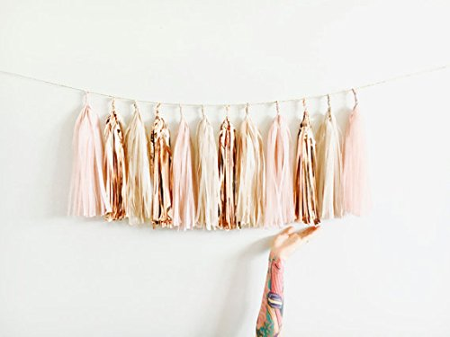 Blush,Rose Gold,Nude Shimmer Tassel Garland, 15 Tassels and 2m Jute Twine-Baby Shower,Blush Wedding Decor,Party,Chair Banner