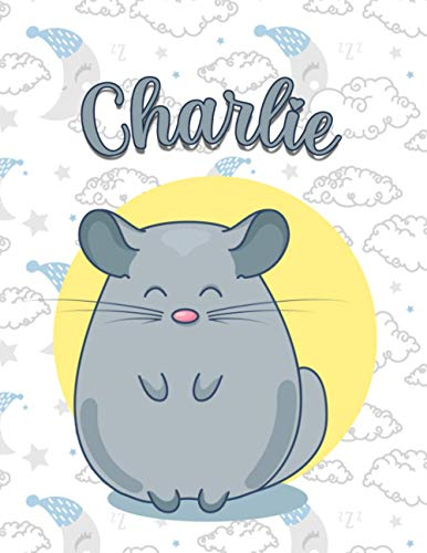 Charlie: Perfect Personalized Chinchilla Sketchbook & Notebook birthday gift idea with name for Charlie  8.5x11 Size & 100 Sketchbook pages + 50 Wide ... Notebook pages for girls , womens and