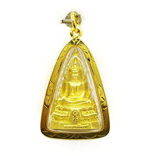 Phra Phuttha Chinnarat Gold Pendant Charm Thai Buddha Amulet 22k Thai Baht Yellow Gold Plated Jewelry