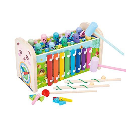 Arkmiido Juguetes de Madera 7 en 1 Martillo para niños con 3...