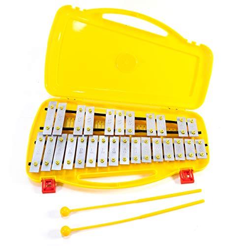 Xilófono Glockenspiel 27 Noten Metalófono Instrumento Musical Educativo Percusión Ritmo Música Instrumento Educativo Juguete, con 2 Martillos Funda Palma para Niños