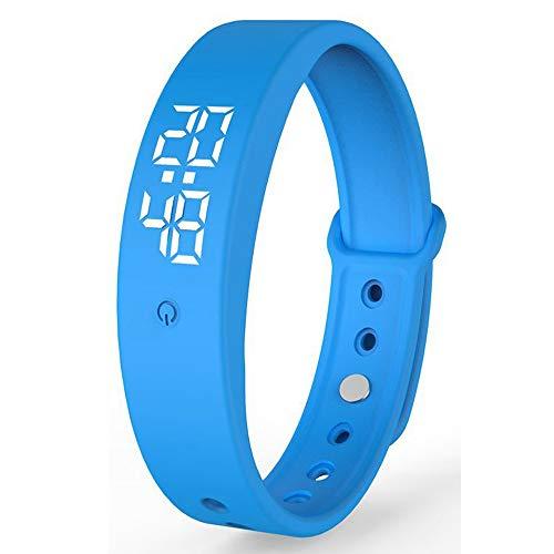 Dewanxin V9 Smart Armband mit Temperatur messen, Thermometer, mit Genauigkeit Körpertemperatur Anzeige Zeit Anzeige Smartwatch (Blau)