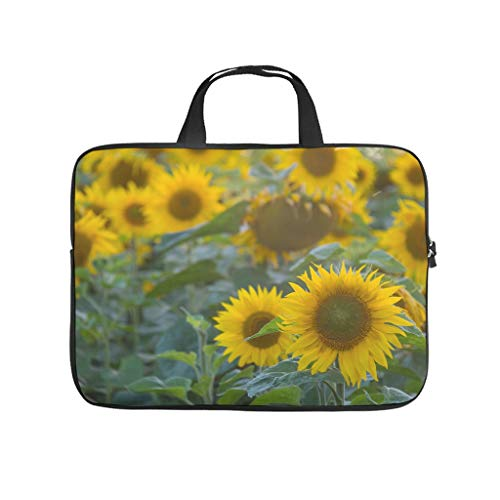 Nature Field Yellow Flower Plant Sunflower Tablet Sleeve Trendy Prints Laptop Case Slim Neoprene Notebook Briefcase for Boyfriend Girlfriend White 12inch