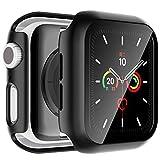 lϟk 2 pezzi custodia cover + protezione schermo per apple watch series 6/5/4/se 44mm - copertura completa custodia rigida con vetro temperato per iwatch series 6/5/4/se 44mm - nero