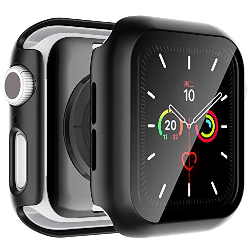 LϟK 2 Pack Funda Protector de Pantalla de Cristal Vidrio Templado Incorporado para Apple Watch 44mm Series 6 5 4 SE - Estuche Protector General para PC Duro Ultra-Thin Carcasa para iWatch 44mm