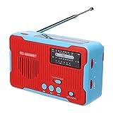 YZX Radio de manivela Solar de Emergencia, multifunción portátil doméstico Exterior transmisión Am/FM/NOAA, con Linterna LED energía móvil de 2300 mAh SOS Alarma función(Rojo)