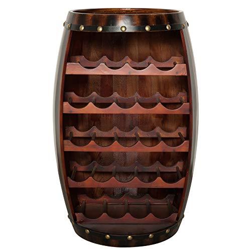 Riess Ambiente Massives Weinregal Bodega 80cm Coffee Weinfass aus Holz Tisch Shabby Chic Fass Stehtisch Bartisch Flaschenregal Platz für über 20 Flaschen