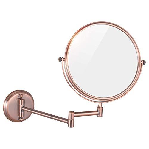 Espejo de Maquillaje de Pared, Espejo de Afeitar de Doble Cara Redondo de Aumento de latón de 8 Pulgadas, Espejo de tocador cosmético Plegable Giratorio de 360 ° para baño, Oro Rosa, 3X