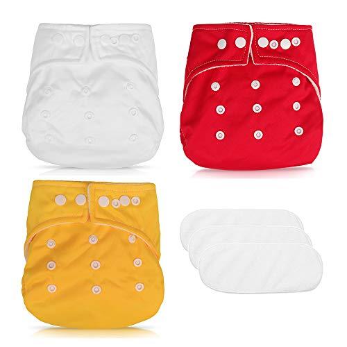 6PCS Pañales de Tela Impermeable, Bragas de Aprendizaje Calzones de Entrenamiento para Bebé ,Pañales Reutilizables Lavables para Bebés(rojo + blanco + amarillo)