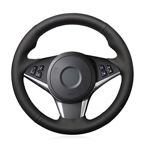 NFRADFM Hand-genähtes schwarzes künstliches Leder-Auto-Lenkrad-Abdeckung, für BMW E60 E61 530D E63 2003-2010 E64 2004 2005-2009 2010