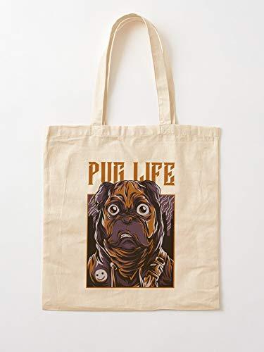 Pug Illustrations Lovers Design Dog Lord Dark Pugs Life Tote Cotton Very Bag | Bolsas de supermercado de lona Bolsas de mano con asas Bolsas de algodón duraderas
