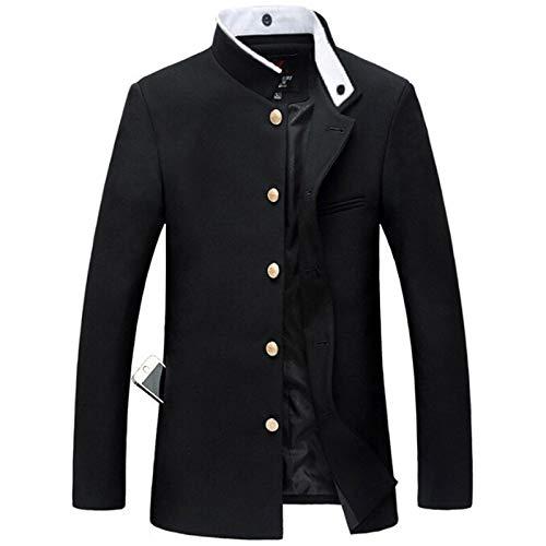 Men Black Slim Tunic Jacket Single Breasted Blazer Japanese School Uniform College Coat-Black-Xxl
