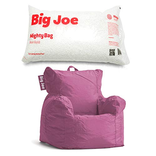 A.T. Products Corp. Big Joe Cuddle Bean Bag Chair in Radiant Orchid Bundle with Big Joe Megahh Bean Refill 100-Liter in Single Pack