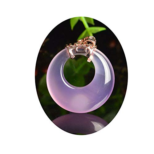 DDPD Jade Peace Buckle Male Jade Onyx Female Jade Pendant round - 925 Silver Inlaid Chalcedony Pendant*Pink*A