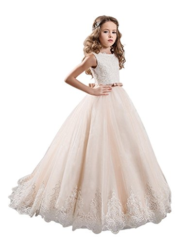 KissAngel Ivory Long Lace Flower Girl Dresses Champagne Less Party Dress (6, Ivory &Champagne)