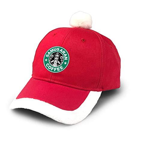 AHISHNF Metroid Starhunt Samus Aran Kaffee Weihnachtsmütze Rot Santa Baseball Cap für Kinder Erwachsene Familien Feiern Neujahr Party