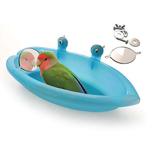 WiFndTu - Bañera para pájaros, jaula de loro para ducha, bañera, bañera, bañera, para loros, piscina, pájaros, cuenco para colgar, bañera, loro y pájaros, accesorios con espejo