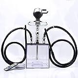 シーシャ 初心者セットアクリル水タバコ セットダブルホース ホース2本、ハンドル、クレイトップ、チャコールホルダー、LEDライト、リモコン