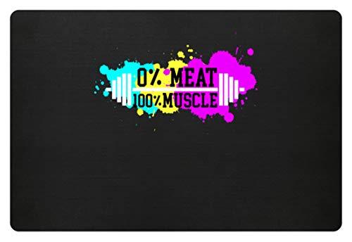 generisch Cooles Vegan/Vegetarier Training Muskel Workout Hantel Cardio Gym Fitness Protein - Fußmatte -60x40cm-Schwarz