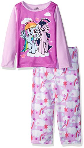 My Little Pony Girls' Toddler Magical Friends 2-Piece Fleece Pajama Set, Dash/Sparkle, 4T