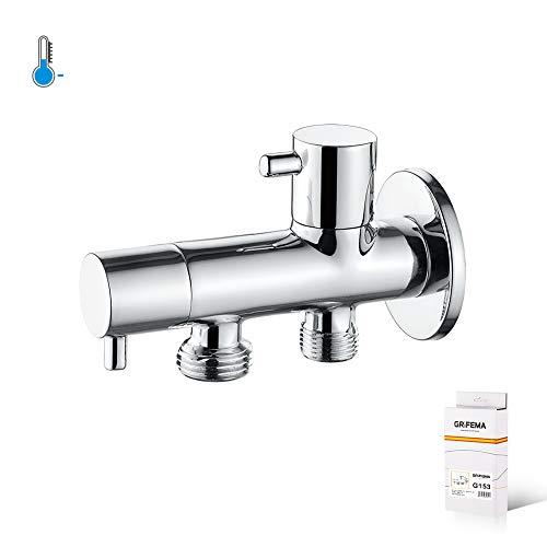 GRIFEMA COMPLENTOS-G153 | Eckregulierventil mit Griff für Handbrause WC, Ausgußbecken, Haushalt und Industrie | Eckventil für 2 Anschlüsse (1/2 Zoll, 3/8 Zoll), Chrom