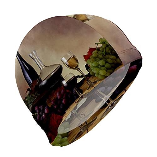 Gorro de natación Happy Sukkot uvas vino tinto francés gorro de natación para hombres, niños, adultos, jóvenes, adolescentes, gorro de natación antideslizante