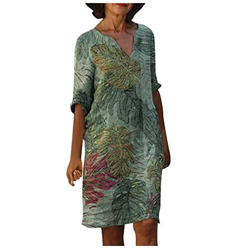 Glowjoy Mode Frauen Casual Plus Size V-Ausschnitt Blumendruck A-Linien-ÄRmeln Leinenkleid,Damen Sommer Knielang Elegant Kleid,Boho Blumen Strand Kleider,GroßArtig FüR Party,Daily,Beach