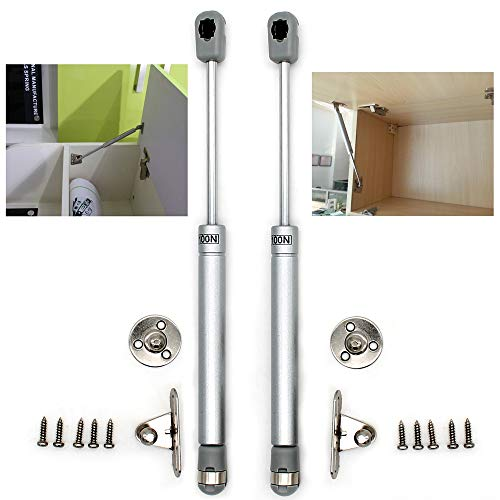 Gas Strut ,Gas Spring, Gas Shocks, Soft Close Hinges, Toy Box Hinges, Lift Supports, Lid Support, Kitchen Cabinet Hinges Hydraulic Support Door Cabinet Hinge Spring (100N, Silver)