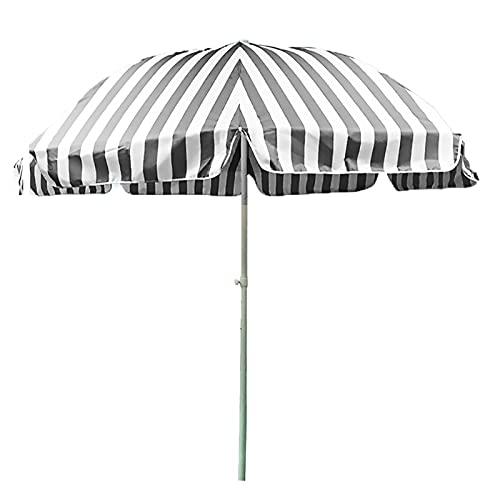 ZJM Sombrillas para Patio Sombrilla de Playa al Aire Libre con Dosel de Tela Oxford, Sombrilla de Patio a Rayas Paraguas de Mercado con 3-Capa a Prueba de Viento Costillas, 7.2 pies