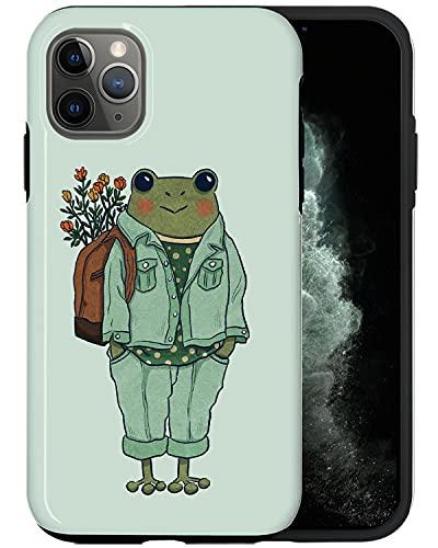 JUSPHY Funda para teléfono compatible con iPhone 12 Pro Max, rana con mochila PIN482, diseño de moda estética de lujo lindo patrón accesorios para teléfono
