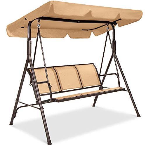 Best Choice Products 3-Seater Outdoor Adjustable Canopy Swing Glider, Patio Loveseat Bench for Deck, Porch w/Armrests, Textilene Fabric, Steel Frame - Tan