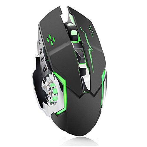 Lupinlpr Wireless Gaming Mouse, 2.4G Wireless Rechargeable Ergonomic Optical Silent Buckle, with USB Receiver and Type-C Adapter, 3 DPI Adjustable (800DPI, 1600DPI, 2400DPI), Suitable for Computers