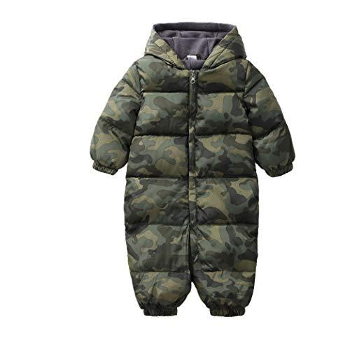 zhbotaolang Enfant Hiver Combinaison de Ski Coton Outerwear - Kids à Manches Longues Barboteuse Unisexe Dalopettes à Capuche Tout Petits (80cm Vert)