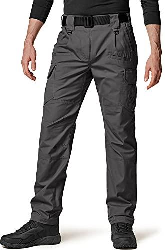 CQR Men's Tactical Pants, Water Repellent Ripstop Cargo Pants, Lightweight EDC Hiking Work Pants, Outdoor Apparel, Duratex Ripstop Charcoal, 34W x 30L