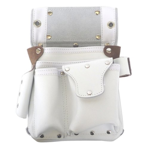 こま 白エバ−スキン 釘袋ラチェット・ハンマ−差し・ポケットフタ付 KK−41