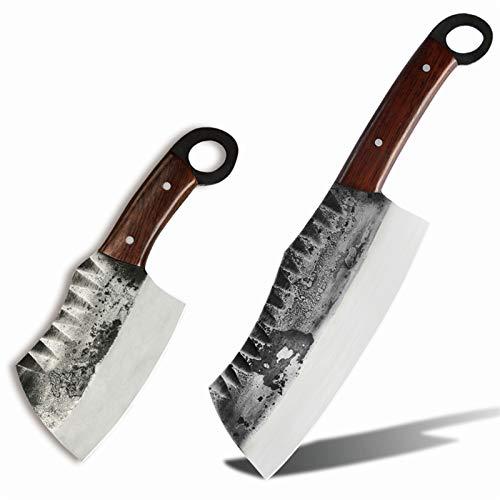 Cuchillos forjados hechos a mano CHAPING CLEAVER CHANTER CHORTER STRICER HAND CUCHILLO CUCHILLO CAJA HERRAMIENTAS DE COCCIÓN juego de cuchillos (Color : C 2PCS SET)