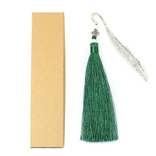 RLECS Chinese Knot Vintage Style Bookmark Metal Bookmark with Peacock Green Tassel for Book Lovers