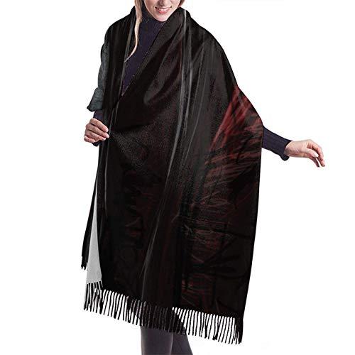 Evil Ghost Bufanda de lana Pashmina Chales Wrap para mujer Cachemira Cálida manta de invierno de gran tamaño